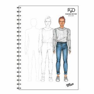 Скетчбук A5 fashion illustrtaion - Men fvdesign.org